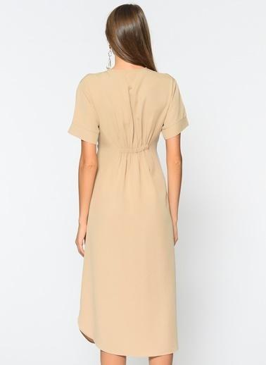Loves You Düğmeli Tensel Elbise Bej
